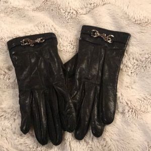 Black leather coach gloves size 7 1/2